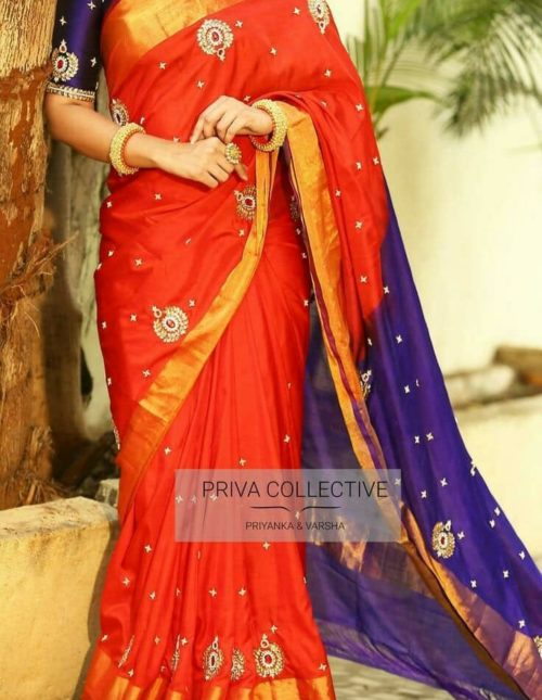 uppada silk saree with embroidery