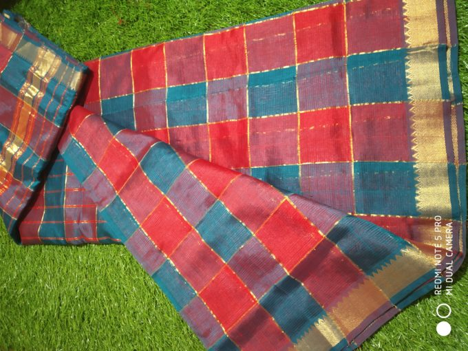 checks mangalagiri silk saree