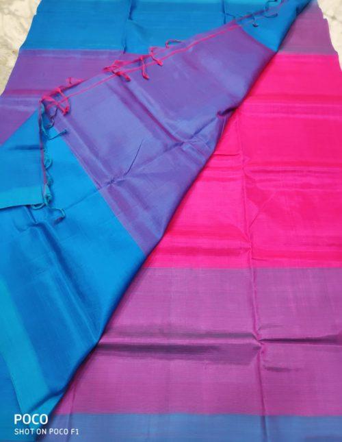 pink and blue mangalairi silk saree