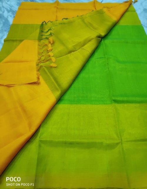 reen and yellow mangalairi silk saree