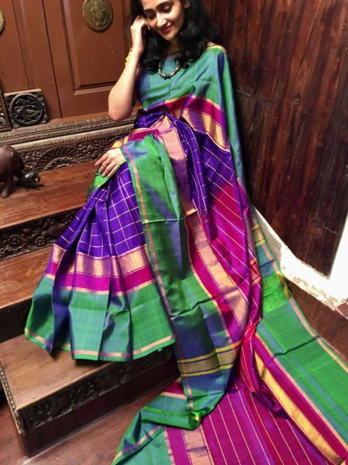 Blue and green uppada checks sarees