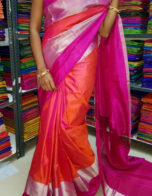 Pink uppada silk saree with silver jari
