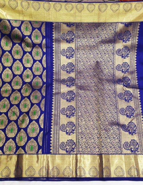 Blue color kanchi silk saree with small border