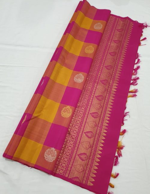 Kanjivaram silk sarees pink and yellow checks