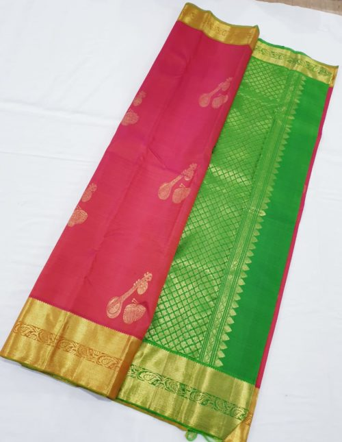 Kanchi silk sarees pink and green color