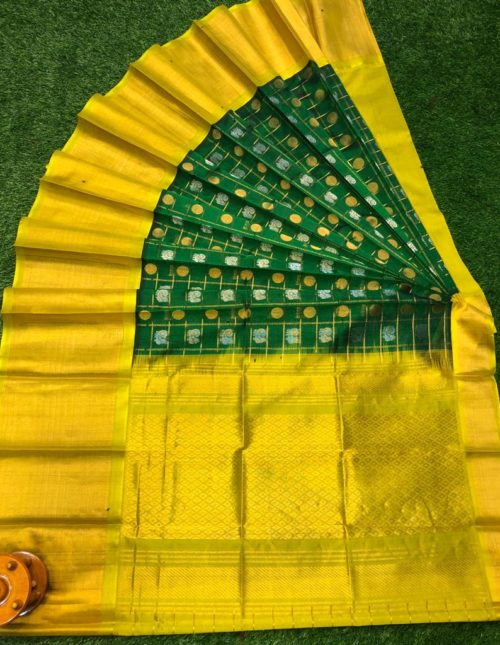kuppdam green and yellow saree