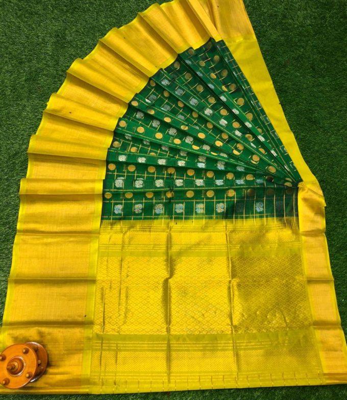 kuppdam green and yellow saree