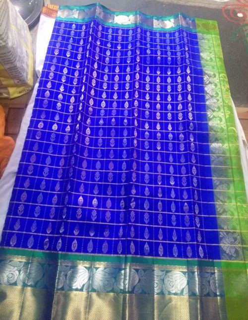 Dharmavaram pattu saree blue color