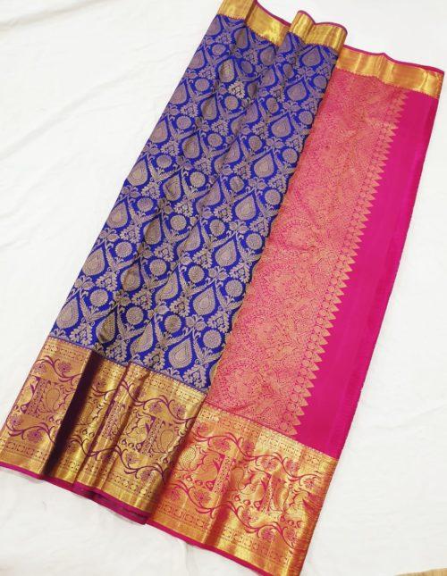 Kanjivaram silk saree -blue and pink