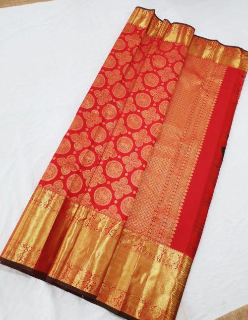 Kanjivaram silk saree -red color