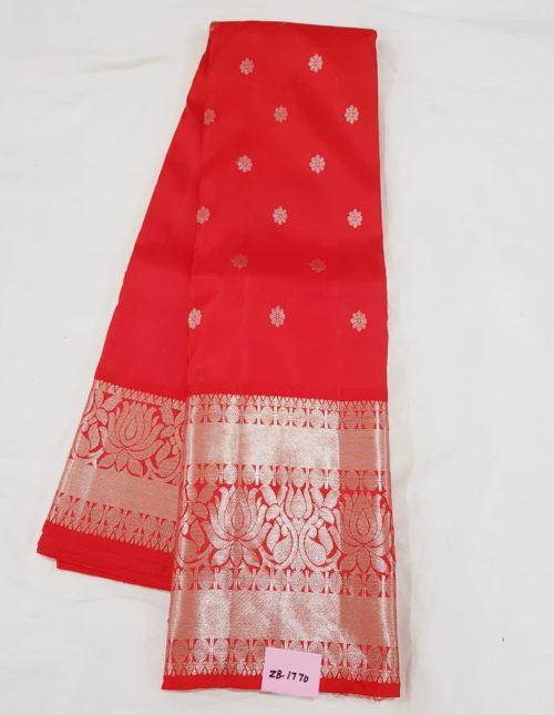 Kanjivaram silk saree with silver jari red color