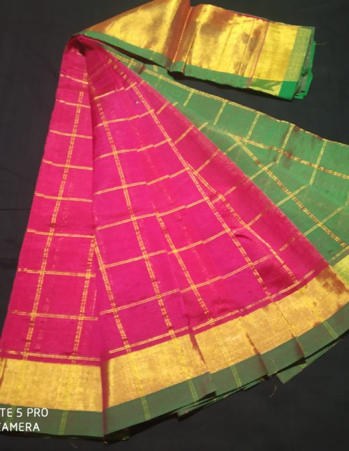 pink and green semi kuppadam silk saree