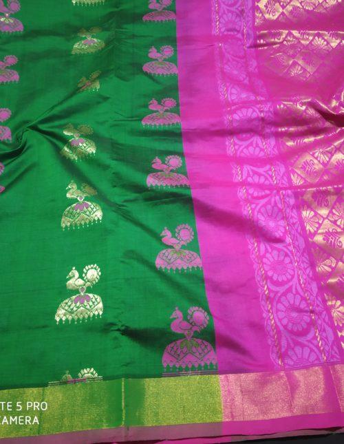 Thick green and pink kuppadam silk saree