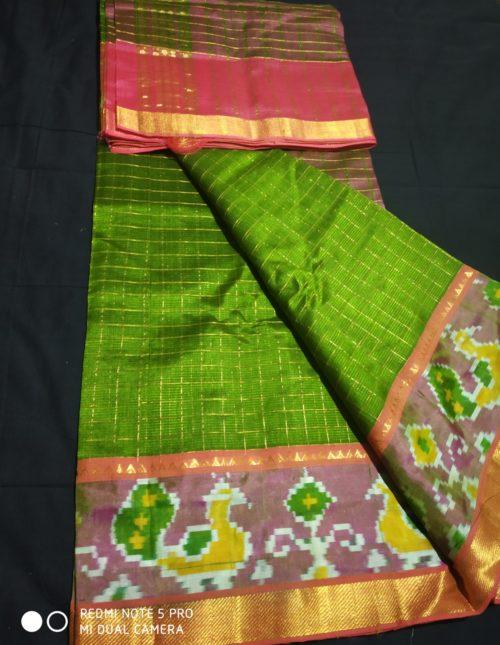 green color mangalagiri silk saree with ikat border