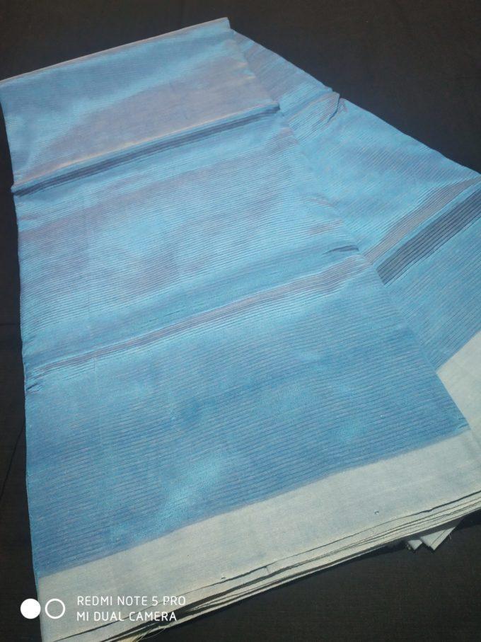 blue color plain mangalagiri silk saree