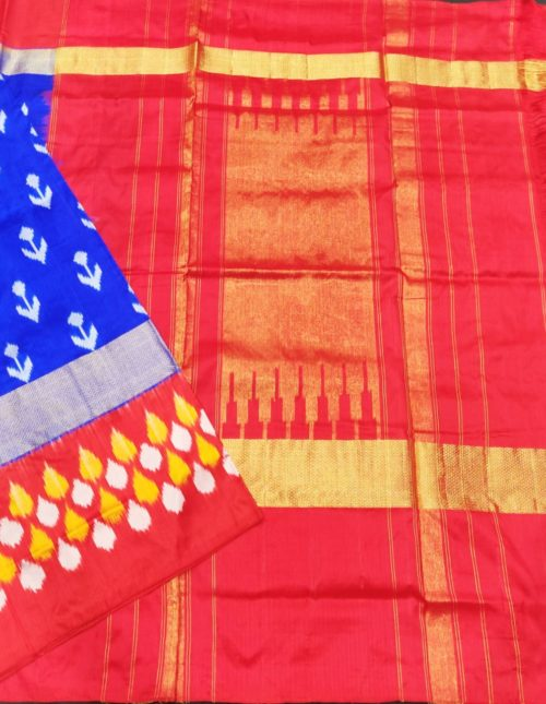 Blue and red pochampally ikkat sarees