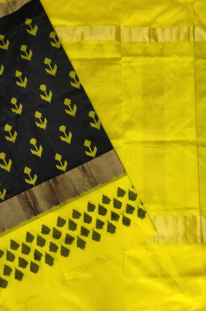 Black and yellow pochampally ikkat sarees