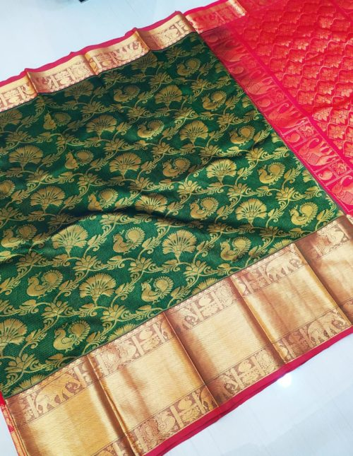 green kuppadam silk saree