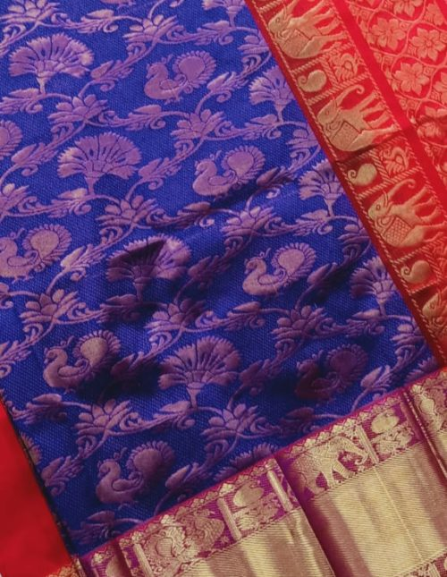 kanchi border blue kuppadam pattu saree