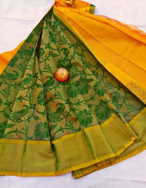 green and yellow kuppadam silk sarees-k233