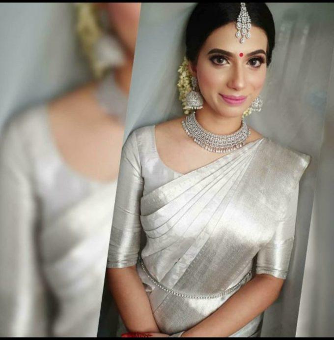 silver color uppada plain tissue cotton saree