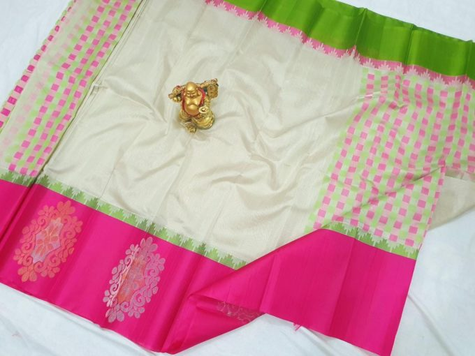 white and pink pure tissue silk saree-u434