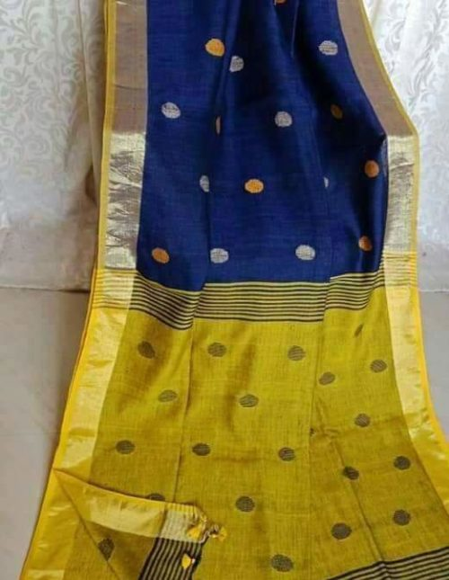 blue and yellow lenin cotton saree-7593