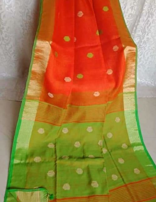 orange and green lenin cotton sree-4389