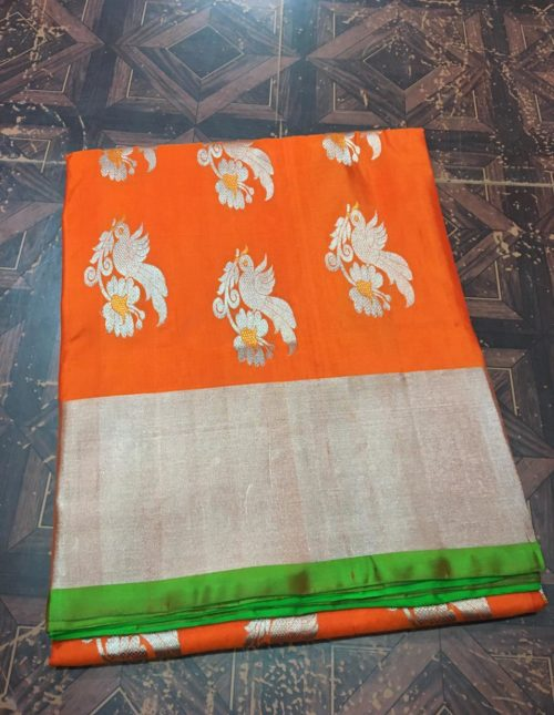 latest orange venkatagiri silk saree