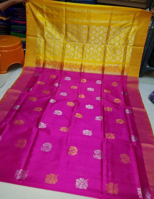 pink and yellow latest uppada silk saree-45897