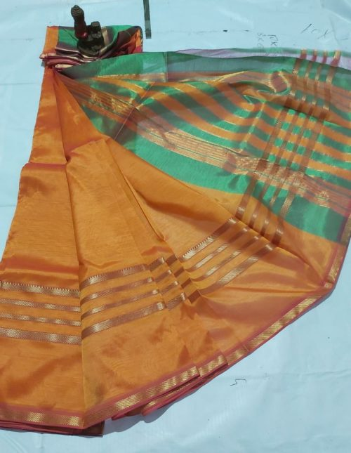 mustard yellow and green silk saree