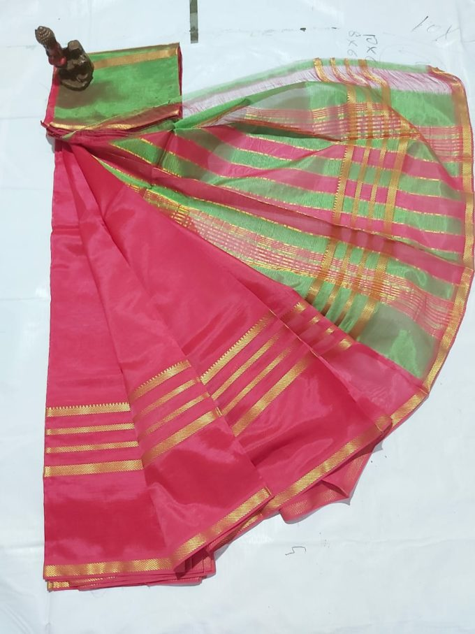 pink and green mangalagiri silk saree-m579