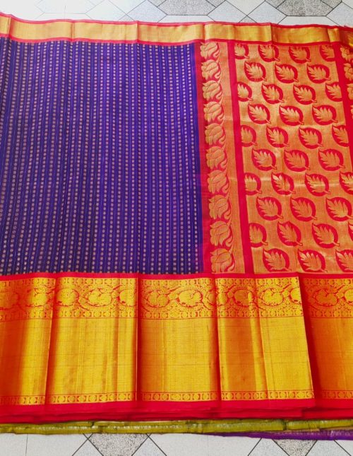 Blue and red kanchi kuppadam silk saree