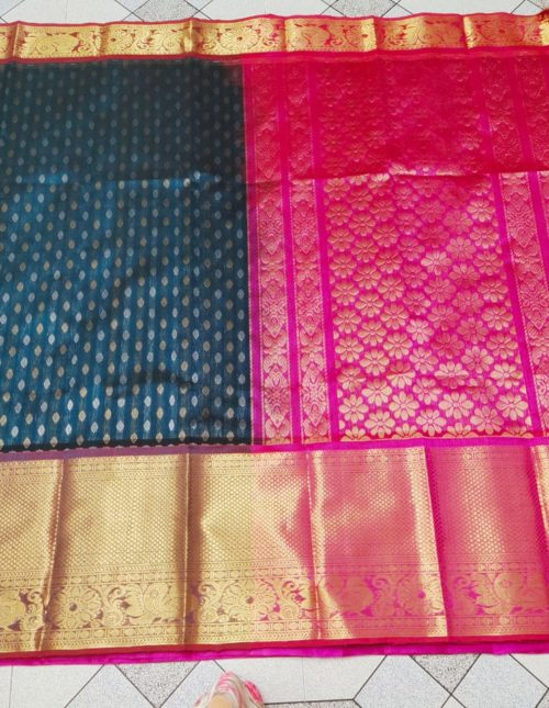 Peacock blue and pink kuppadam pattu saree
