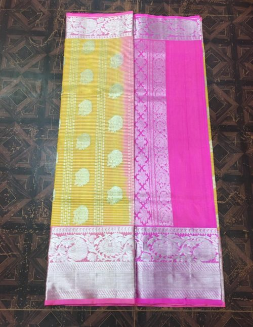 Yellow and pink venkatagiri pattu saree