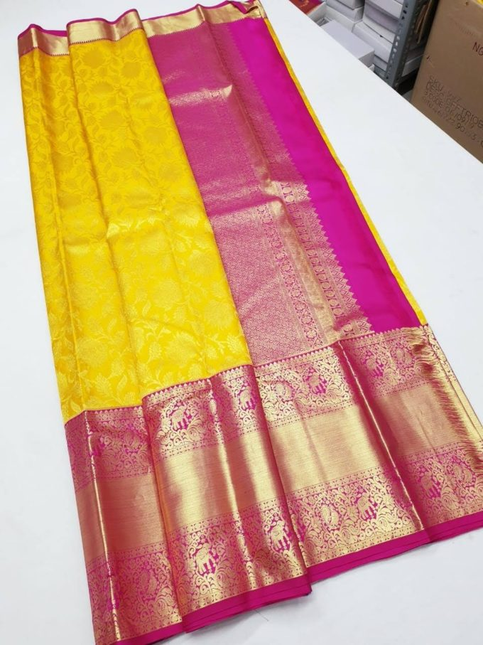 yellow and pink kanchi pattu saree-kp1297