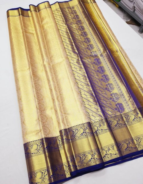 cream and blue bridal kanchi pattu saree