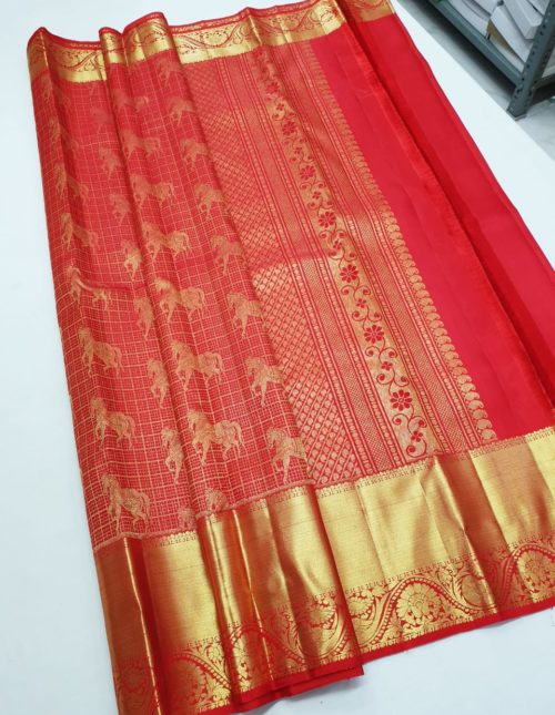 kanchi RED bridal silk saree
