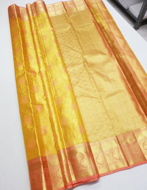 gold color bridal kanchi pattu saree-k3907