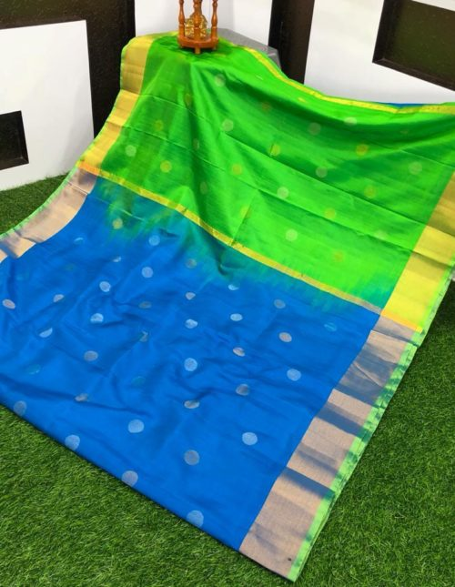 Blue and green uppada pattu saree-u8470