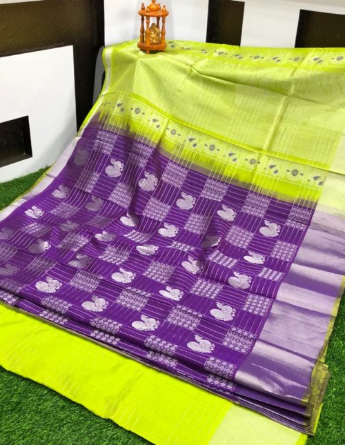 purple and green kuppadam pattu saree-k9377