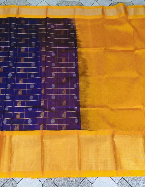 blue and yellow kuppadam pattu saree-k2893
