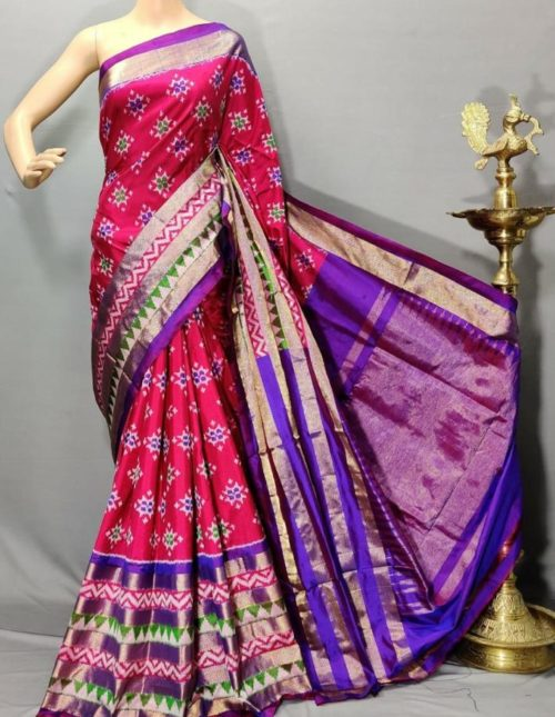 Pink and purple pochampally ikkat pattu saree-p64347