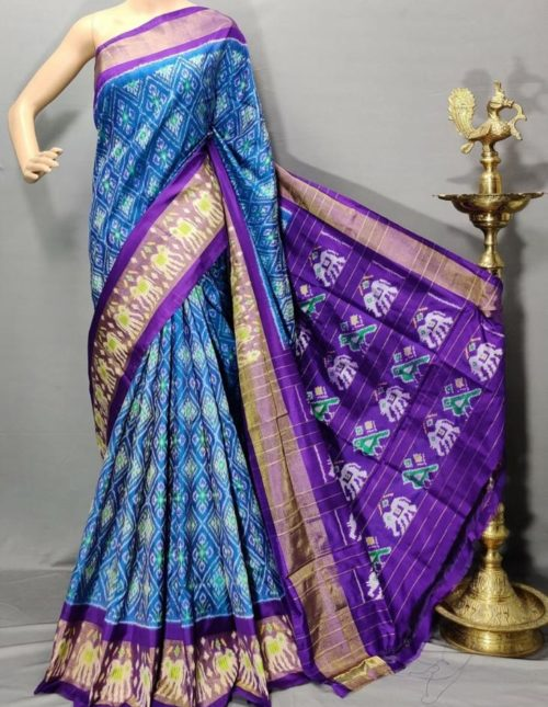 Blue and purple pochampally ikkat silk saree-p4743