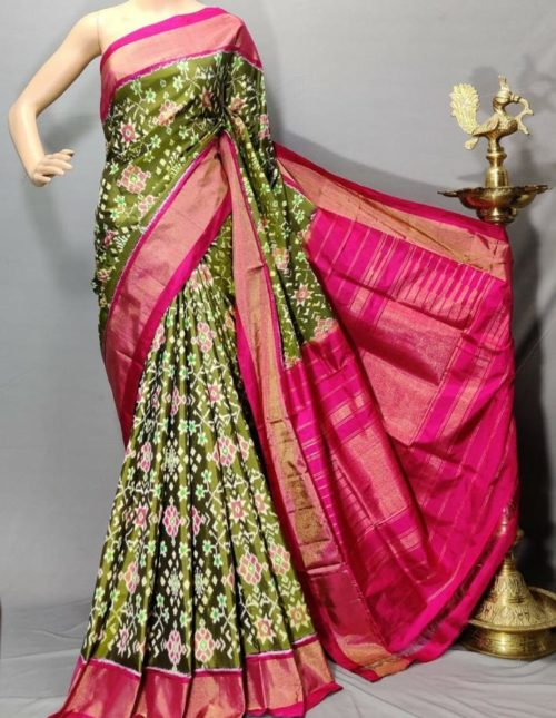 Green and pink pochampally ikkat silk saree-p4478