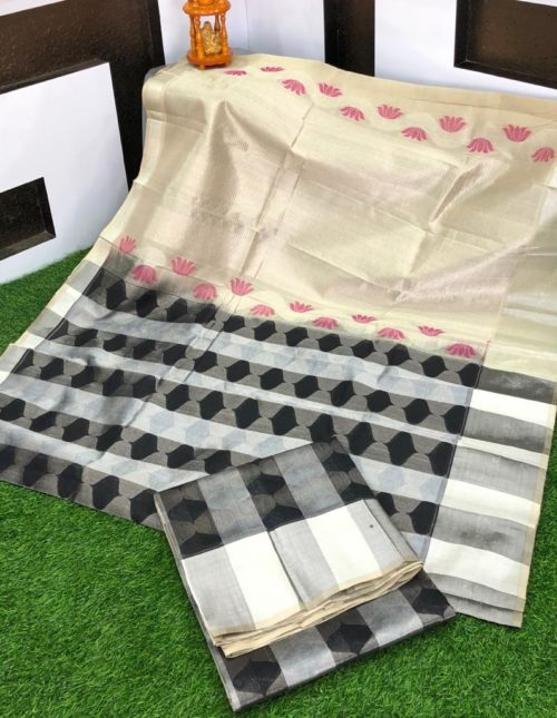 Exclusive Black and cream kuppadam silk saree-k7547