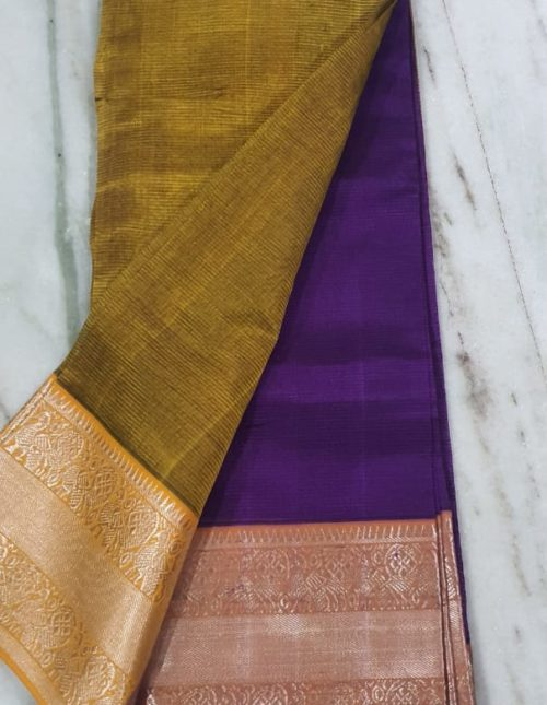 Latest exclusive purple and mustard yellow mangalagiri silk saree-m8685