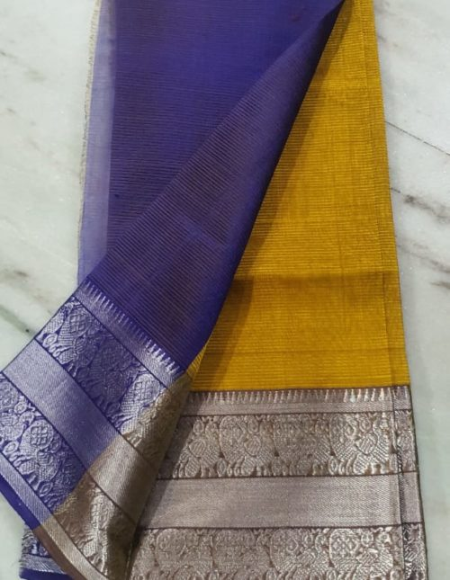 Mustard yellow and violet exclusive mangalagiri silk saree-m8658