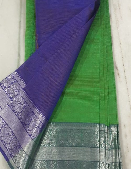 Green and voilet latest mangalagiri silk saree-m74472