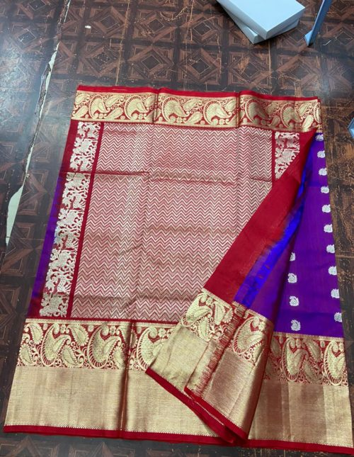 Purple and red bridal venkatagiri silk saree-v1247